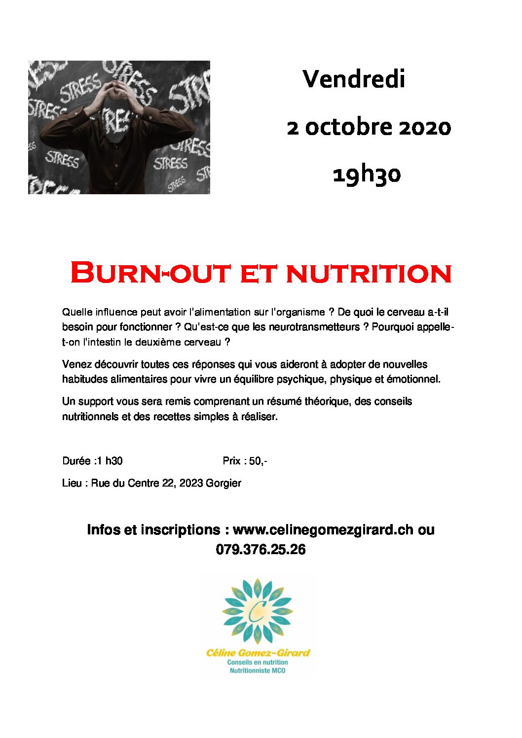 Atelier « Burn-out et nutrition » 2.10.2020